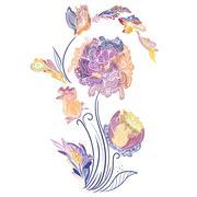 Elegant Vector Vignette with Sketch Flowers Stock Illustration