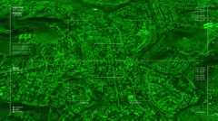 Night vision aerial surveillance drone/UAV flyover of an urban or suburban resid - stock footage