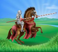 Knight in armor with jousting lance - stock illustration
