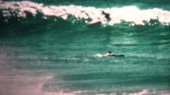 Stock Video Footage of (8mm Vintage) 1955 Waikiki Beach Hawaii Longboard Surfing