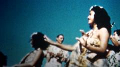 (8mm Vintage) 1955 Hawaiian Hula Dancers Sunset - stock footage