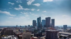 Beautiful sunny day downtown Los Angeles Aerial view city pan down 4K timalapse Stock Footage