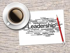 Coffee, Pencil And A Note Contain Word Clouds Of Leadership And Its Related W - stock illustration