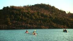 Kayak and Paddling Boat. Stock Footage