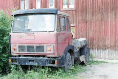 Old Lorry and Old House - stock photo