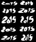 2015 date in white sharp fluid fonts over black - stock illustration