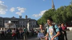 Tourists visit Trafalgar Square Stock Footage