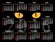 Calendar for 2016 in Swedish with cat's eyes Stock Illustration