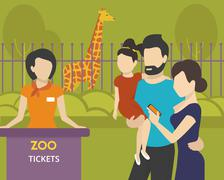 Booking tickets to zoo - stock illustration