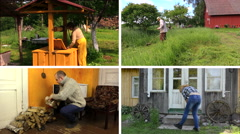 People work various garden jobs in rural farm. Video collage Stock Footage