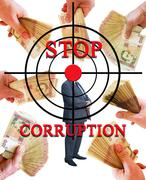 inscription stop corruption with target and hand with money - stock illustration