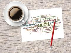 Coffee, Pencil And A Note Contain Word Clouds Of Audit And Its Related Words Stock Illustration