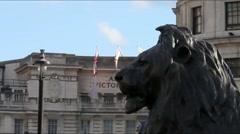 Bronze Lion Sculpture, Trafalgar Square, London Stock Footage