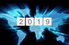 world glow background and keyboard button with word 2019 - stock illustration
