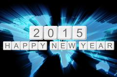 world glow background and keyboard button with word 2015 happy new year - stock illustration