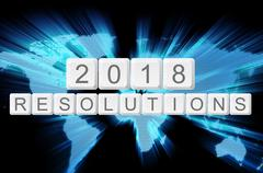 Stock Illustration of world glow background and keyboard button with word 2018 resolutions