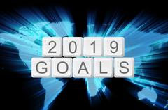 world glow background and keyboard button with word 2019 goals - stock illustration