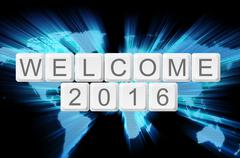 world glow background and keyboard button with word welcome 2016 - stock illustration