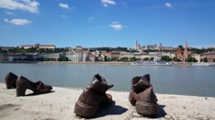 The Shoes on the Danube Bank is a memorial in Budapest, Hungary Stock Footage