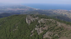 4K AERIAL VIEW FOREST AND SEA Stock Footage