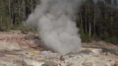 Small eruption Steamboat Geyser Norris Basin Yellowstone fast 4K Stock Footage
