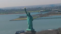 Statue of liberty aerial wiew Stock Footage