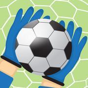 Goalkeeper batted ball - stock illustration