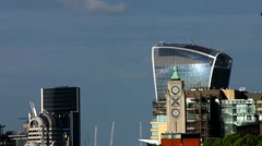 London cityscape with 20 Fenchurch Street (The Walkie-Talkie) Tower Stock Footage