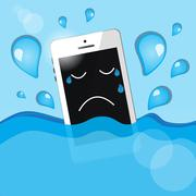 phone in water - stock illustration