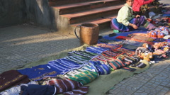 Local people worknig on the square, Sa Pa, Vietnam Stock Footage