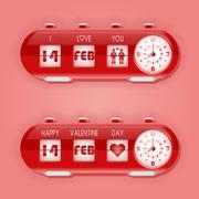 Valentine day with table flap clocks and number counter - stock illustration