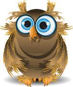 goggle-eyed wise owl - stock illustration