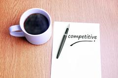 Coffee, pen and notes write competitive - stock photo