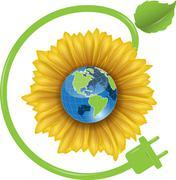 Sunflower and Globe Stock Illustration