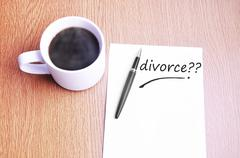 Coffee, pen and notes write divorce - stock photo