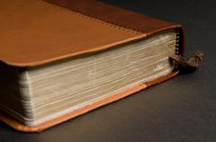 Closeup of a brown book (Bible) with golden pages - stock photo
