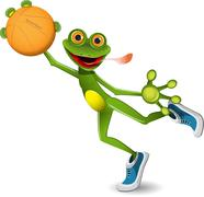 Stock Illustration of frog basketball