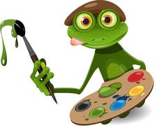 Frog painter Stock Illustration