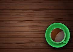 Green Cup of coffee or tea on the table dark wood - stock illustration