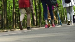 people in town park - stock footage