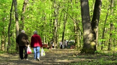Seniors in town park Stock Footage