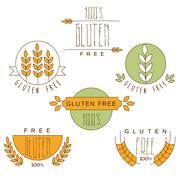 Gluten Free, Natural Product Label - stock illustration