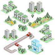 Stock Illustration of Set of the Isometric City