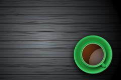 Green Cup of coffee or tea on the table dark wood Stock Illustration