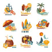 Stock Illustration of Beach And Summer Labels Set