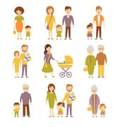 Family Figures Icons Set - stock illustration