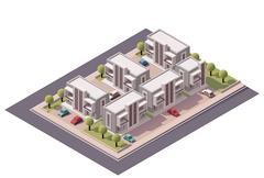 Vector isometric townhouses set - stock illustration