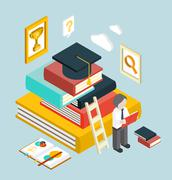 Flat 3d Web Isometric Education Graduation Infographic - stock illustration