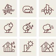 Natural Disaster Icons Stock Illustration