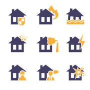 Home and House Insurance Risk Icons - stock illustration